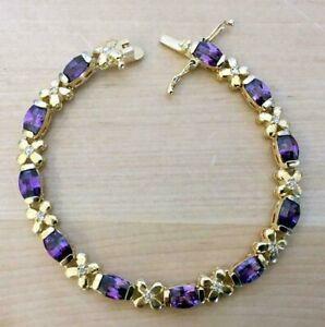 """Women's 9.7Ct Amethyst & Diamond Tennis Link Bracelets 925 Silver 7"""" Free Stud"""