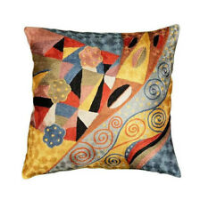 """Klimt Cushion Cover Signs Of Spring Silk Hand Embroidered 18"""" x 18"""""""