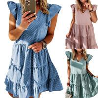 Ladys Travel Boho Loose Tunic Dress Ruffle V-neck Beach Polka Dot Kaftan Dresses
