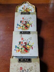 Vintage Metal Tin 3 Slot Mail Letter & Bill Sorter Holder Fruit Flower Basket