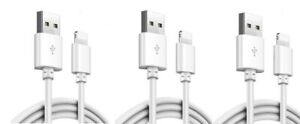 3 Pack 3/6/10Ft USB Cable Heavy Duty For Iphone 7 plus 6 5 Charger Charging Cord