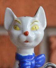 """Vintage Mid Century 6"""" Tall Cartoonish Siamese Cat Figure JAPAN White Black Bow"""