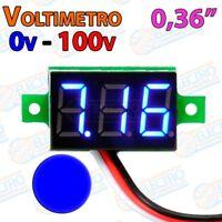 Mini Voltimetro 100v DC 0,36 Pulgadas 3 hilos - AZUL - Arduino Electronica DIY