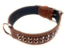 1.5 Inch Wide Studded Brown Leather Dog Collar Suitable for Many Dog Breeds