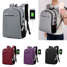 "Men Women 16"" Laptop Backpack School Outdoor Travel USB Charger Bags Anti-Theft"