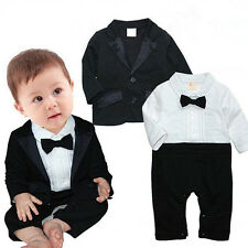 Baby Boys Wedding Party Christening Tuxedo Suit Romper Coat Outfit Clothing POP