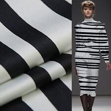 Black and white stripe print pure silk satin silk Charmeuse fabric thick,SSC262