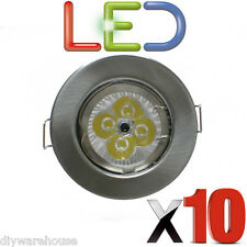 10 X LED GU10 DOWNLIGHT MAINS 240V 4 WATT LED BRIGHT RECESSED BRUSHED CHROME NEW