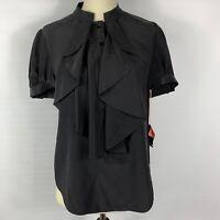 NWT Ali Ro Women Black Short Sleeve Silk Blouse Top 3/4 Button Ruffle Front SZ 4