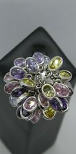 Completely bonkers 925 Silver & multi-gem ring  size M 1/2   20.2g