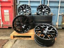 "19"" BLACK VW TRANSPORTER T5 T6 5X120 ALLOY WHEELS AND TYRES DTM SPORTLINE STYLE"