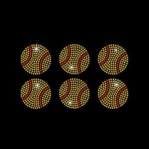 "Rhinestone Transfer "" 2 inch Softballs  "" 6 pcs. Iron On, Hotfix , Bling"