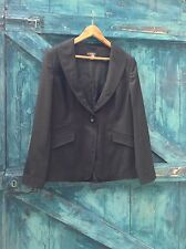 womens jacket size 14 black stretch satin Tux blazer evening party Principles VG