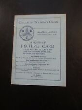 c LATE 1920s CYCLISTS TOURING CLUB MONTHLY FIXTURE CARD WESTERN DIVISION CYCLING
