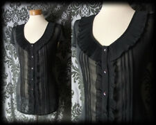 Goth Black Sheer Frill Collar HEART OF DARKNESS Blouse 14 16 Victorian Governess