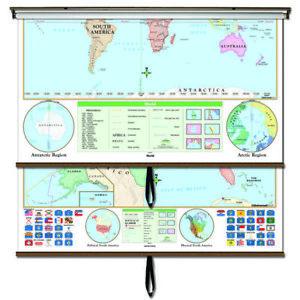 US/World Beginner Combo Classroom Wall Map on Roller w/ Backboard