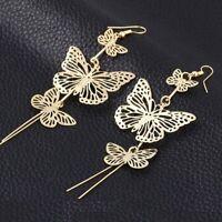 Women's Butterfly Hollow Tassel Ear Hoop Earrings Drop Dangle Jewelry Wholesale