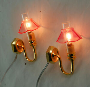 Dolls House Pair Matching Wall Lights in Working Order