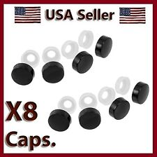 8 Black Fasteners Caps License Plate/Tag Frame Auto car truck screw/nut covers
