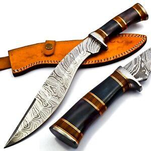 Handmade Damascus Heavy Duty KUKRI Knife Sharp Blade, With Leather Sheath 38cm