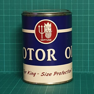 VINTAGE REPLICA NEPTUNE MOTOR OIL TIN CAN REPRODUCTION TIN CANS DISPLAY PROPS