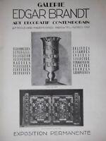 PUBLICITÉ DE PRESSE 1927 GALERIE EDGAR BRANDT ART DECORATIF CONTEMPORAIN VASE