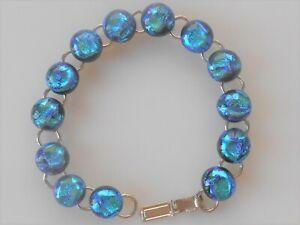 Unisex Dichroic Bracelet Rainbow Glass Link Bracelet DB08 Gold Brown Dichroic Glass Bracelet Brown Dichroic Bracelet