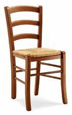 Set 4 Sedie con seduta in paglia in legno massello, colore noce, arte povera