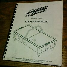 DYNAMO Coin Operated Hockey Table Owner's Manual - used original