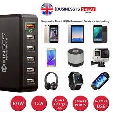 KINGGS 60W/12A 6 Port Fast Smart Desktop USB Charger for Phones, GoPro Camera