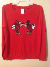 NEW! Authentic Disney Mickey & Minnie Mouse Graphic Light Sweater Women Size M