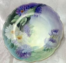Hand Painted M.Z. Austria Plate Flowers Floral Vintage Porcelain Dish Daisies