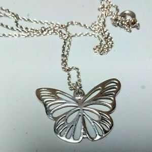 Sterling Silver Pierced Butterfly Pendant on Silver Chain marked 925.