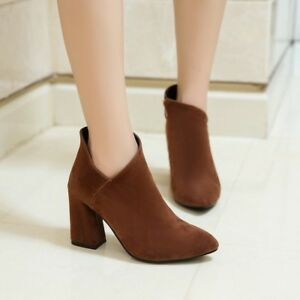 Fashion Women Solid Color Suede Ankle Boots Pointed Toe Block Heel Shoes Zipper