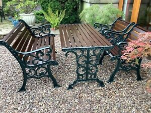 Vintage Cast Iron Garden Furniture Set Table, Bench And Two Chairs.