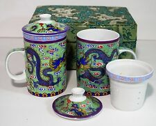 Chinese Dragon Porcelain Infuser Tea Cups w/ Lids Green Storage Box Set of 2