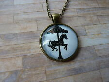 Vintage Look Carousel Horse Silhouette Pendant Glass Necklace New in Gift Bag