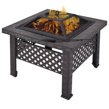 "26"" Outdoor Metal Firepit Backyard Patio Garden Square Stove Fire Pit With Poker"