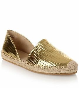 Jimmy Choo Dreya Gold Cubed Mirror Leather Espadrille Flat Shoe Espadrille 36.5