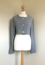 KAMUFLAGE Fabulous Cropped Textured Pale Blue Lagenlook Top/jacket Size 1