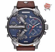 * Nuovo * Cronografo DZ7314 DIESEL Uomini in pelle marrone Watch 4 fuso orario MR DADDY UK