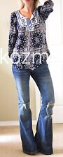 Anthropologie Top SOLITAIRE PRINTED TUNIC Embroidered Boho Hippie Festival S NWT