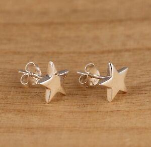 925 Sterling Silver Star Design Stud Earrings 10mm Diameter Gift Boxed