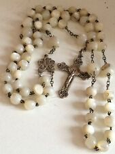 Rosary Chapelet Argent Nacre Mother Of Pearl White Marriage Communion Silver