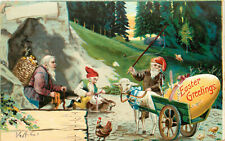 Easter Postcard Gnomes Carrying Eggs with Lamb Cart & Tying Egg to Rabbits Back