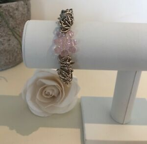 Chunky silver layered Crushed Loops bracelet with Rose crystal beads 💝 & pouch