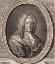 Portrait XVIIIe Bernard Le Bouyer Bovier de Fontenelle Ecrivain Scientifique