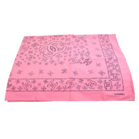 CHANEL CC Logos Big Jumbo Scarf Stole Pink 100% Cotton Italy Authentic 80088