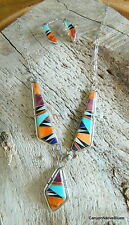 Sterling Silver Navajo Turquoise Spiny Oyster MOP Inlay Necklace Earring Set