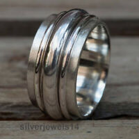 925 Sterling Silver Spinner Ring Wide Band Meditation Statement Jewelry GT7242